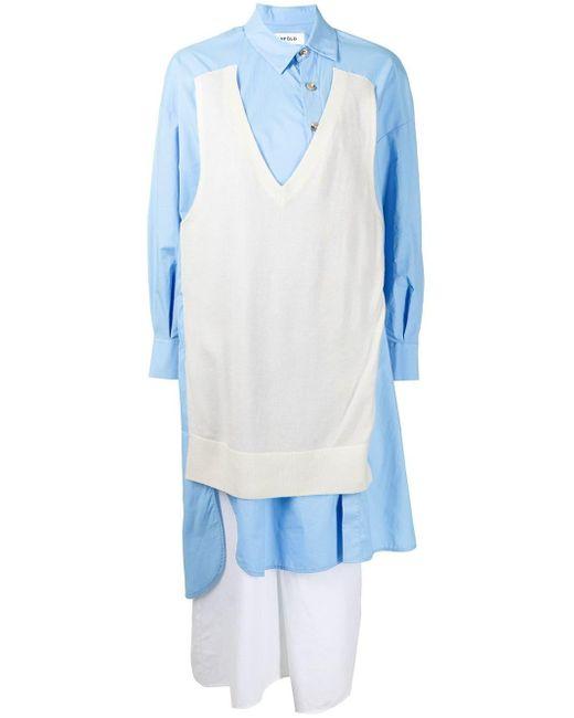 Enfold マルチパネル シャツドレス Blue