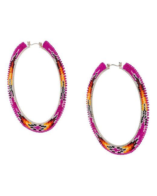 Jessie Western Pink Medium Hoop Beaded Earring