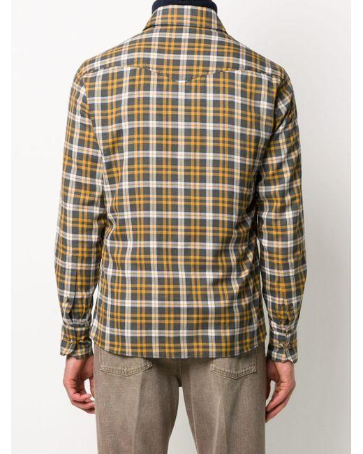 Клетчатая Рубашка На Пуговицах Brunello Cucinelli для него, цвет: Multicolor