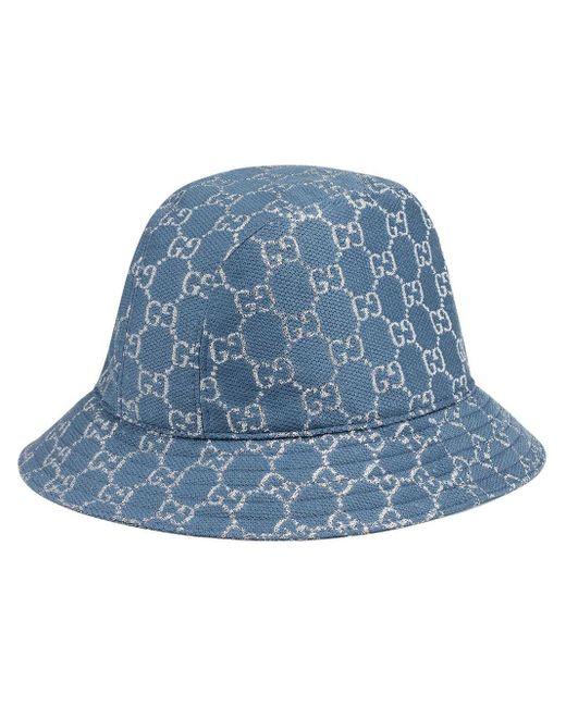 Gucci 【公式】 (グッチ)GGラメ バケットハットライトブルー&ホワイトブルー Blue