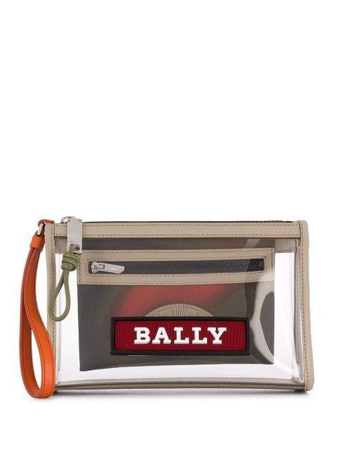 Bally Multicolor Zipped Logo Clutch Bag for men