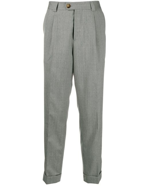 Brunello Cucinelli Gray Tapered Trousers for men