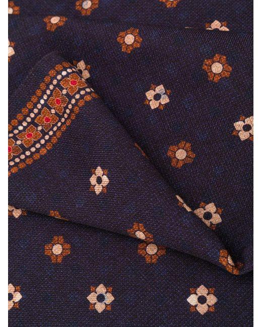 メンズ Dell'Oglio プリント スカーフ Blue