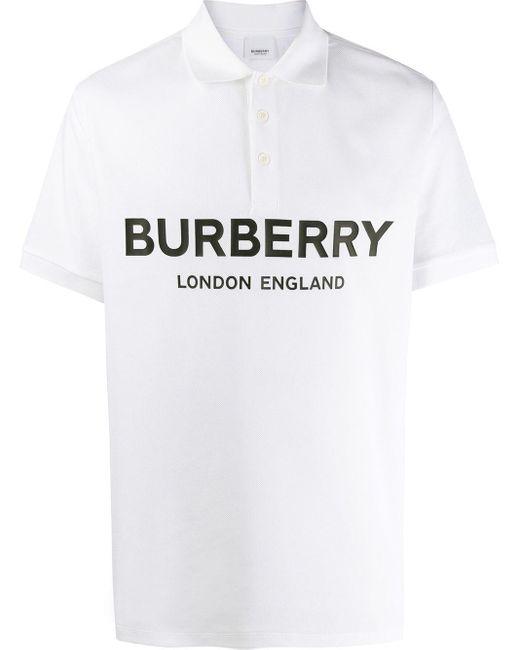 メンズ Burberry ロゴ ポロシャツ White