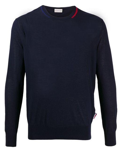 Maglione con dettaglio a contrasto di Moncler in Blue da Uomo