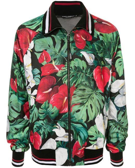 メンズ Dolce & Gabbana マルチカラー アンスリウム プリントトラック ジャケット Green