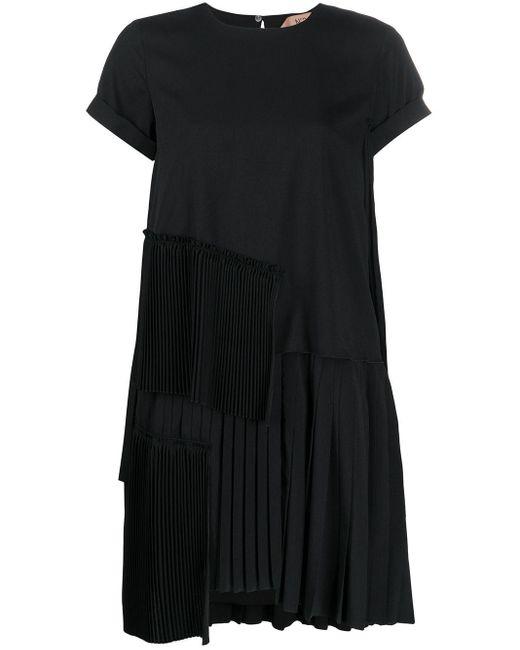 N°21 プリーツ ミニドレス Black