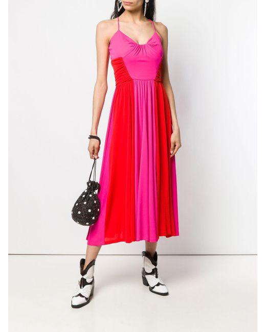 Robe mi-longue bicolore MSGM en coloris Pink