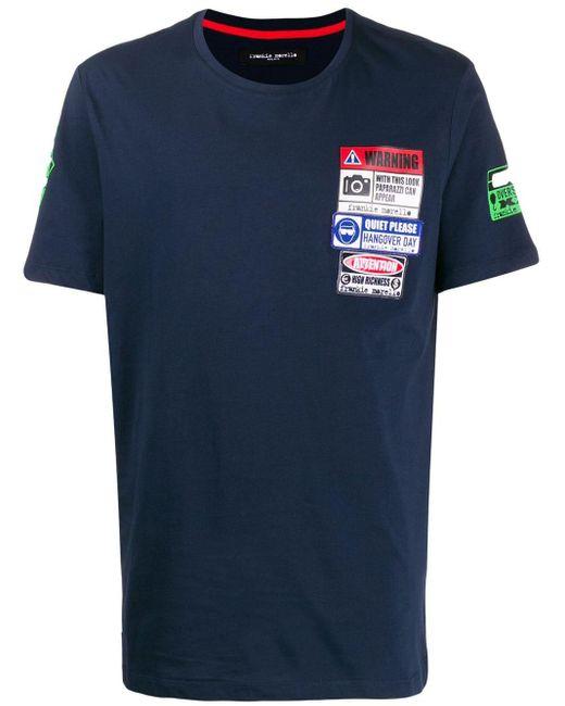 メンズ Frankie Morello パッチ Tシャツ Blue