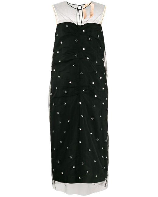 N°21 ビジュートリム ドレス Black