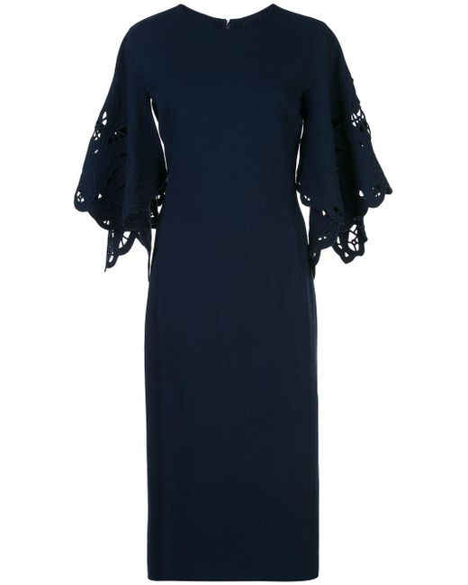 Oscar de la Renta フローラル カットアウトドレス Blue