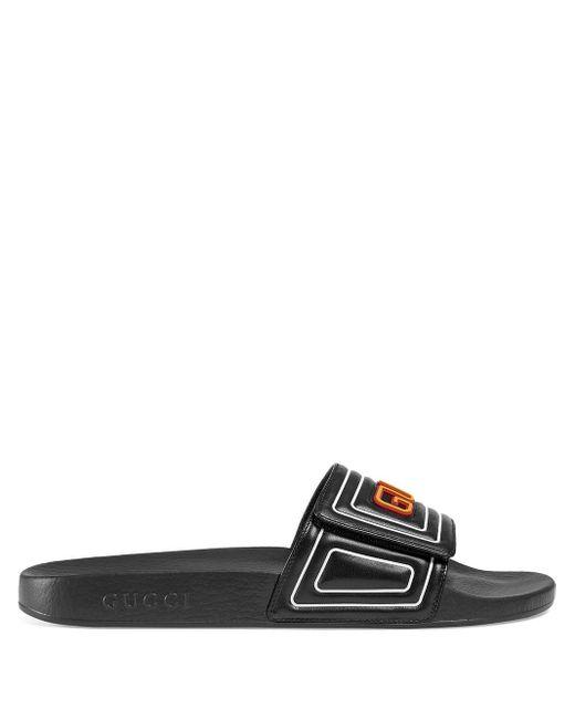 Шлепанцы С Логотипом Gucci для него, цвет: Black