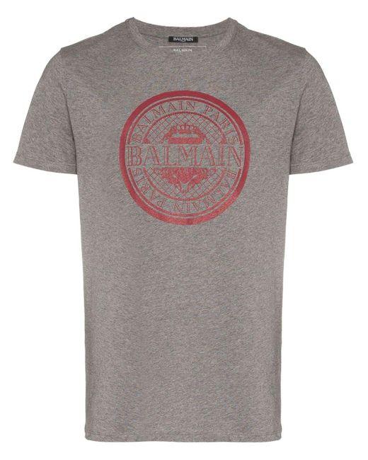 メンズ Balmain ロゴプリント Tシャツ Gray