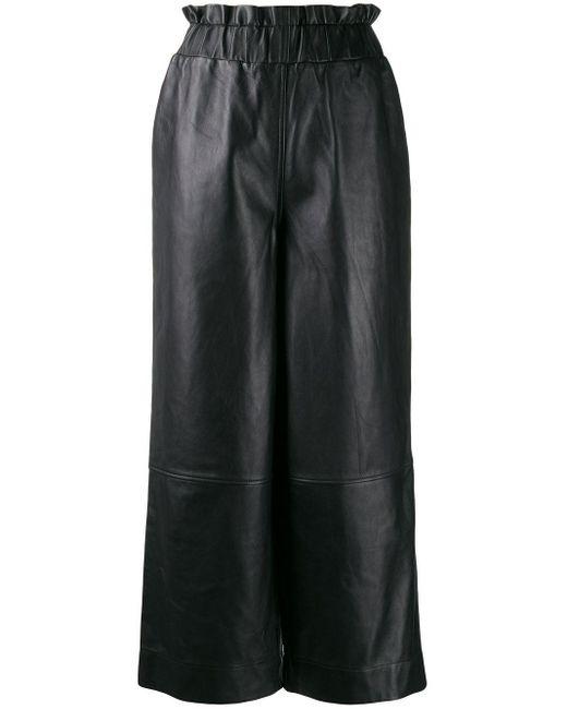 Ganni レザーワイドパンツ Black