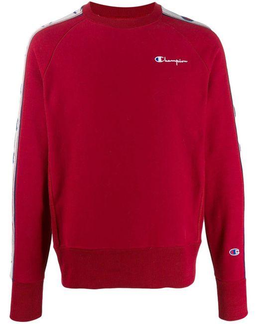 メンズ Champion ストライプ スウェットシャツ Red