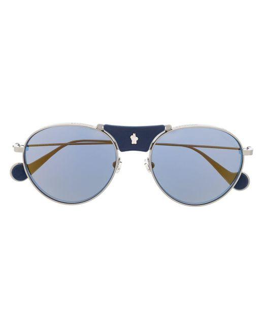 メンズ Moncler ラウンドフレーム サングラス Blue