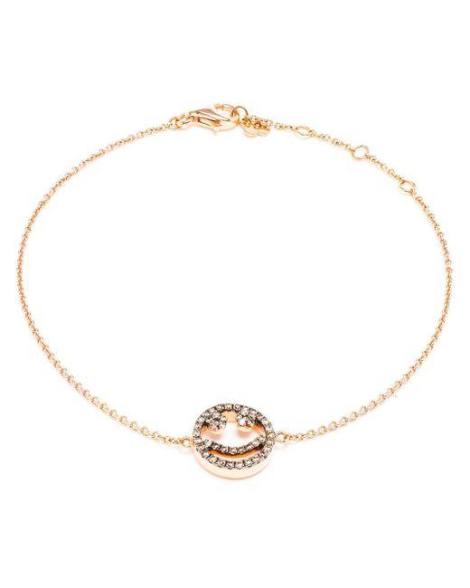Rosa De La Cruz Metallic Diamond Smiley Face Charm Bracelet