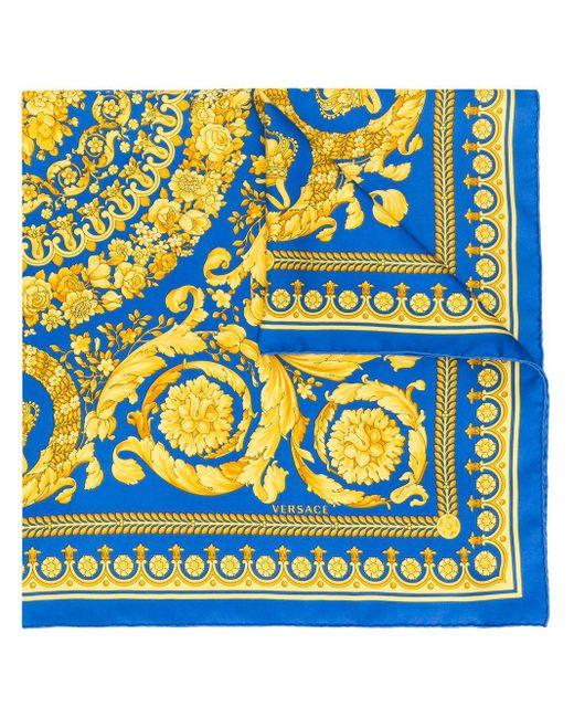 Versace バロックプリント シルクスカーフ Blue