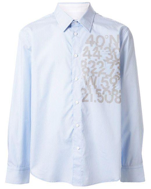 Calvin Klein Blue Pinstriped Number Print Shirt for men