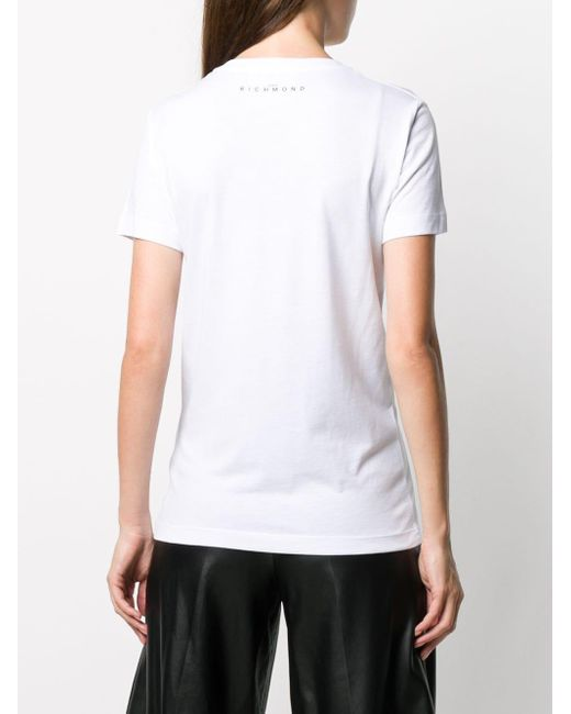 John Richmond デコラティブ Vネック Tシャツ White