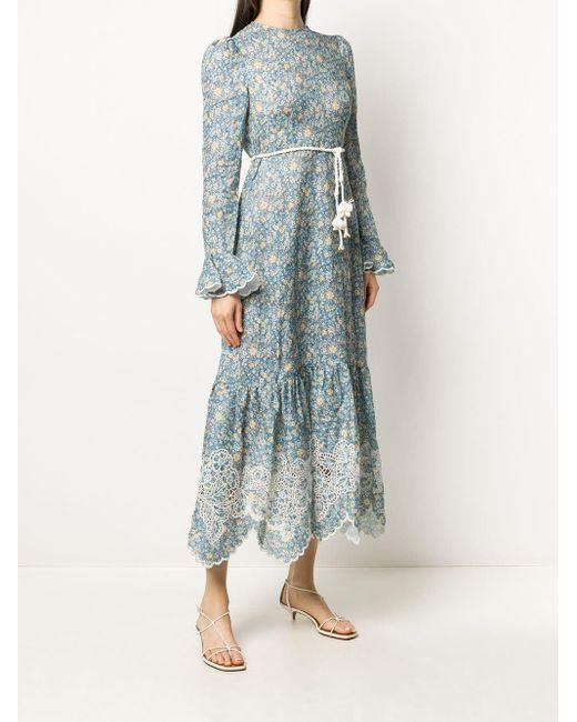 Zimmermann Carnaby フリル フローラル ドレス Blue
