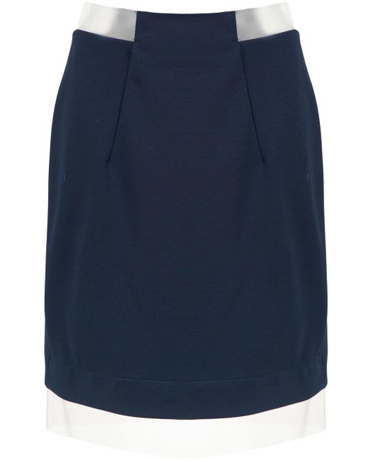 Gloria Coelho Blue Sheer Panels Skirt