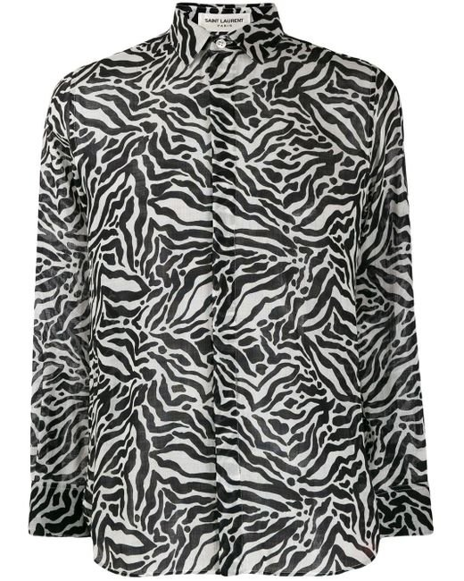 Рубашка С Зебровым Принтом Saint Laurent для него, цвет: White