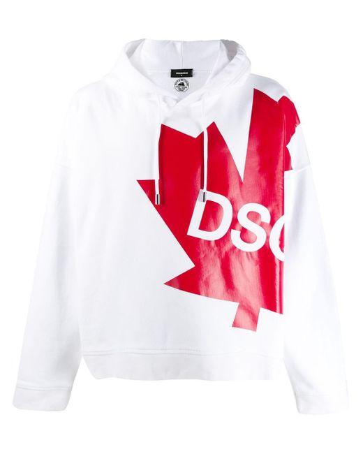 DSquared² White Logo Drawstring Hoodie for men