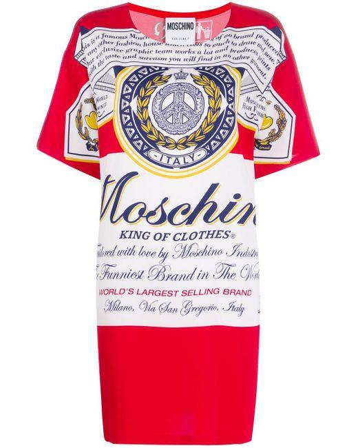Moschino プリント Tシャツドレス Red