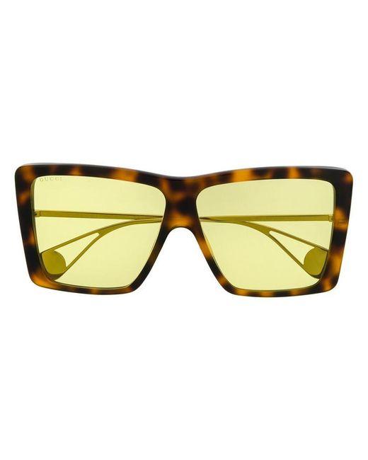 6363811f9c7 Gucci - Brown Oversized Sunglasses - Lyst ...