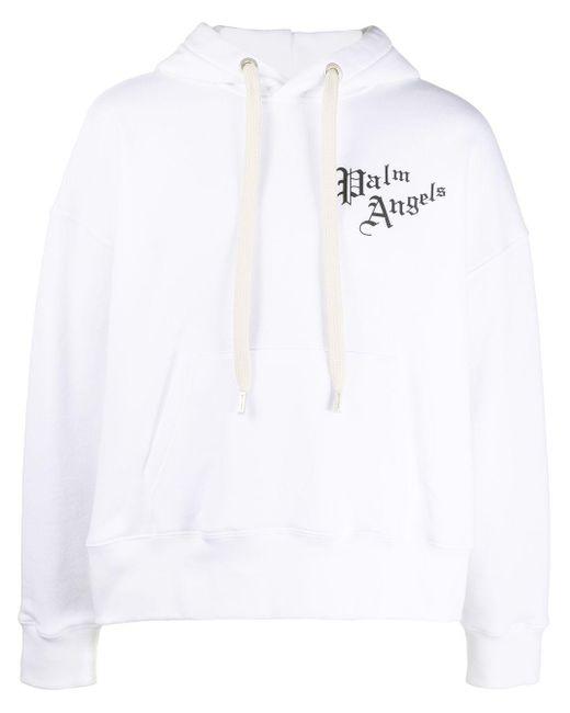 メンズ Palm Angels ロゴ パーカー White
