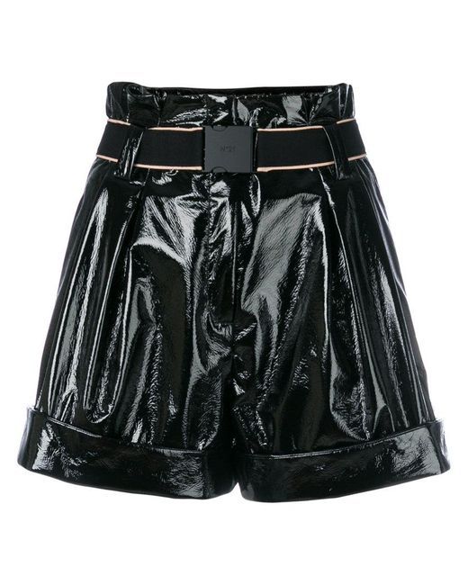 N°21 - Black High-waisted Wide Shorts - Lyst