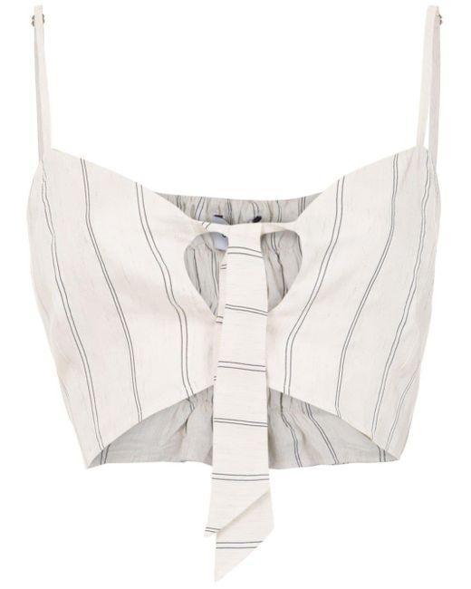 Olympiah Top corto Fiora de lino de mujer de color blanco vcU5O