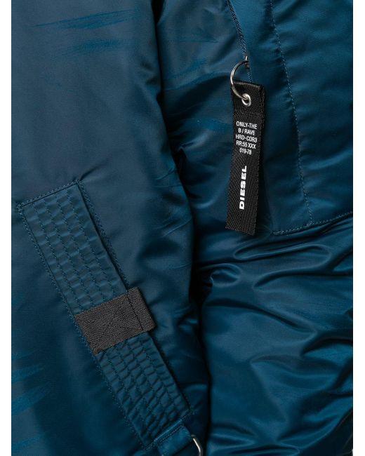 メンズ DIESEL パデッド ボンバージャケット Blue