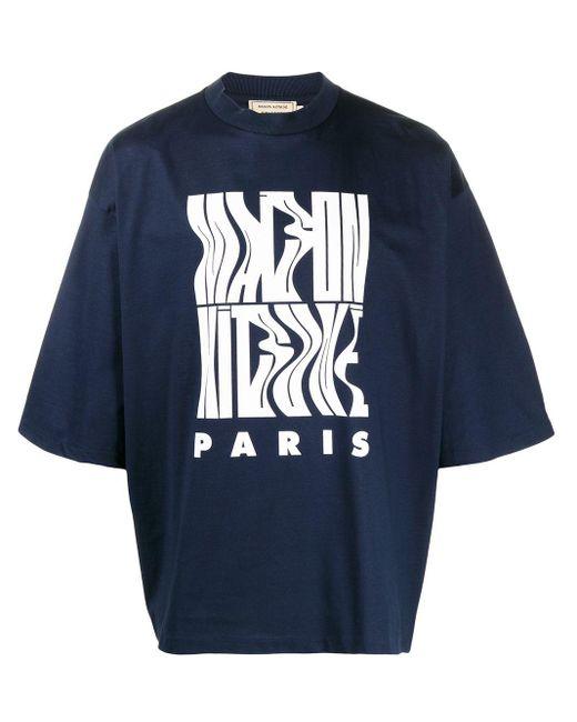 メンズ Maison Kitsuné プリント Tシャツ Blue