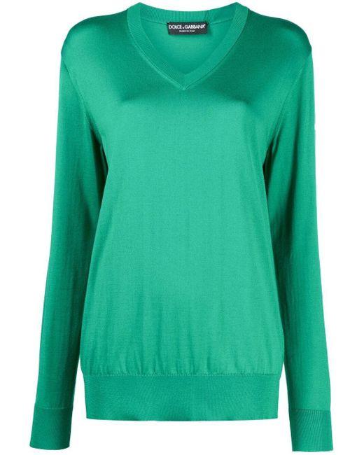 Dolce & Gabbana Vネック セーター Green