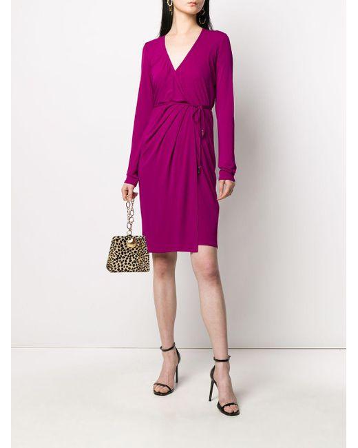 DSquared² Vネック ラップドレス Pink