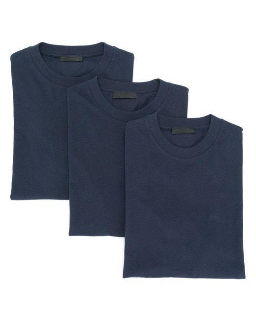 Prada | Blue Triple Pack Crew Neck T-shirts for Men | Lyst