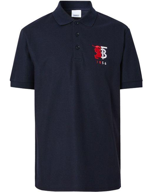 メンズ Burberry コントラストロゴ ポロシャツ Blue