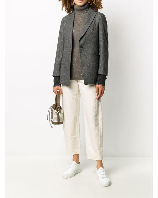 Fabiana Filippi スリムフィット シングルジャケット Gray