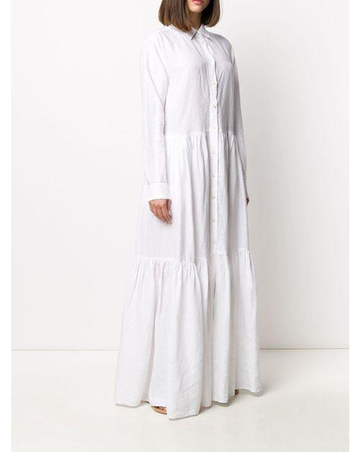 Robe-chemise longue à fronces Aspesi en coloris White