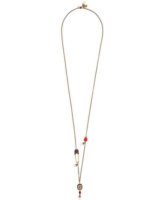 Alexander McQueen | Metallic Swarovski Crystal Glass Pearl Safety Pin Pendant Necklace | Lyst