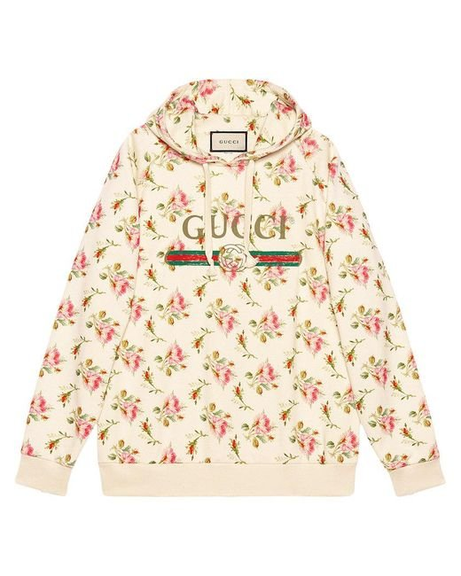 Lyst - Gucci Rose Print Hooded Cotton Sweatshirt in Pink