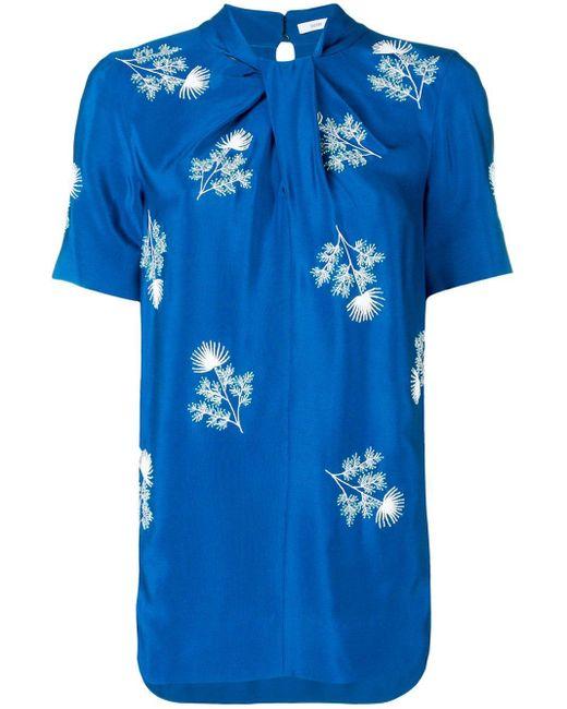 Erdem Floral-embroidered Top Blue