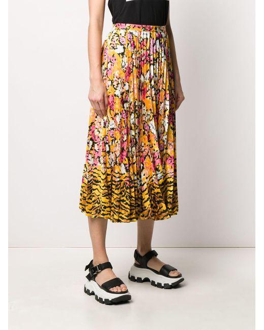 Плиссированная Юбка С Цветочным Принтом Saloni, цвет: Yellow