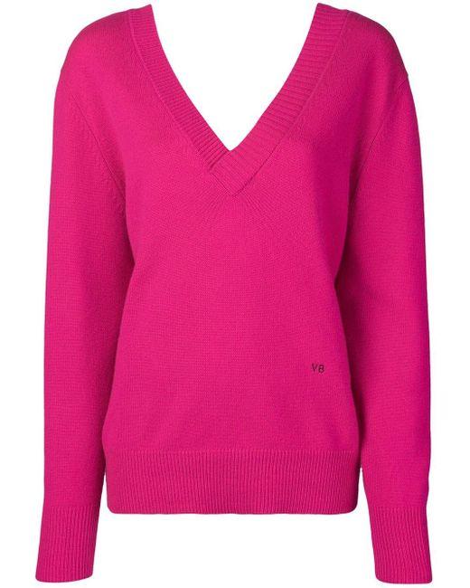 Victoria Beckham Vネックセーター Pink