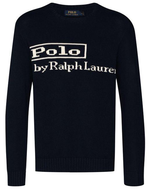 メンズ Polo Ralph Lauren インターシャロゴ セーター Blue