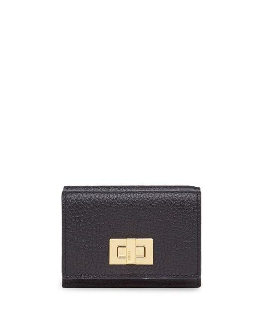 Portefeuille texturé à rabat Fendi en coloris Black