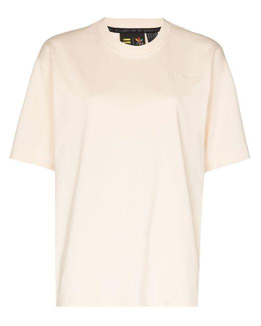T-shirt Basics con ricamo X Pharrell Williams di Adidas in Natural