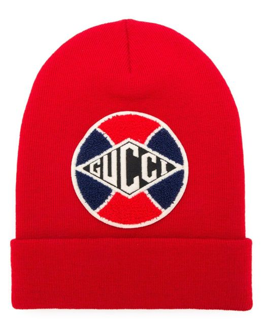 Gucci Red Baseball Patch Beanie